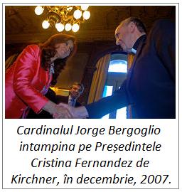 Cardinalul Jorge Bergoglio intampina Președintele Cristina Fernandez de Kirchner, decembrie, 2007.