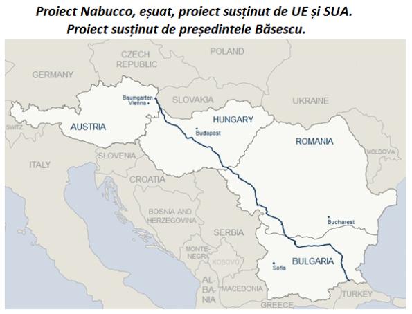 Proiect Nabucco, eșuat, proiect susținut de UE și SUA. Proiect susținut de președintele Băsescu.