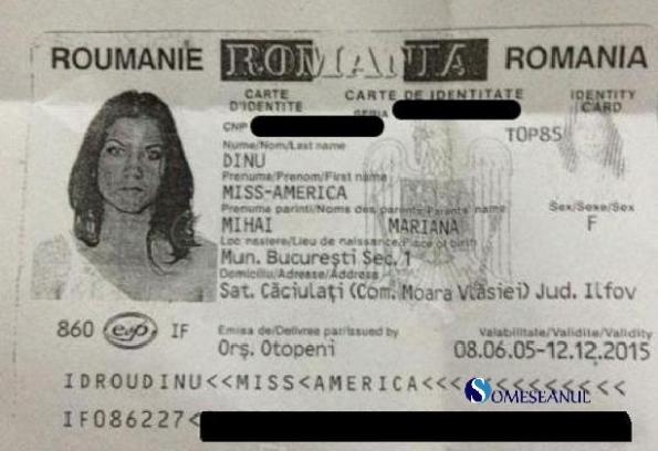 Buletin de identitate - DINU Miss-America