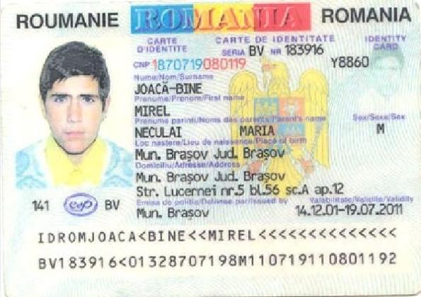 Buletin de identitate - JOACĂ-BINE Mirel