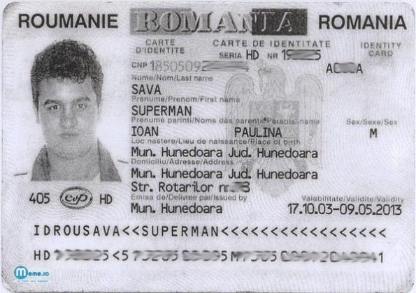 Buletin de identitate - SAVA Superman