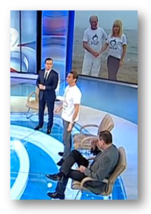 Ospăil cu rahat păstorit de Mihai Gâdea în care a apărut cu tricoul în care artă unde o vrea de la Preşedinte.