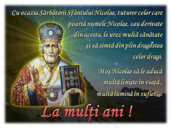 La mulți ani de Sf. Nicolae