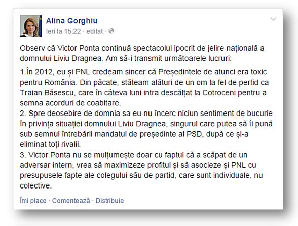 Alina Gorghiu, postare
