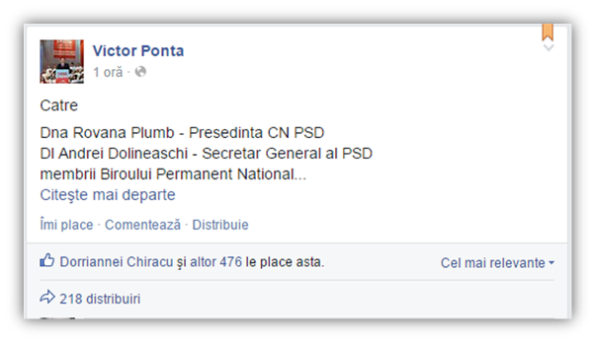 Victor Ponta - scrisoare Facebook