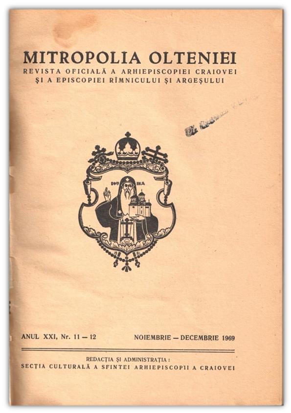 Revista oficiala a Arhiepiscopiei Craiovei - Noiembrie Decembrie 1969
