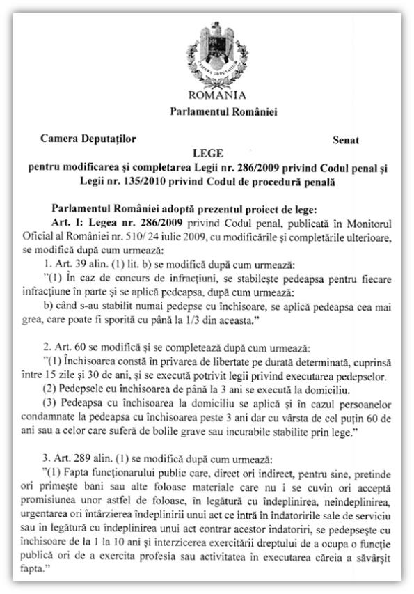 Lege pentru modificarea și completarea ... 286-2009 ... 135-2010